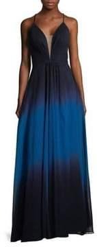 Betsy & Adam Ombre Floor-Length Gown