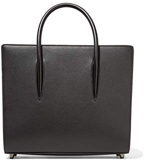 Christian Louboutin Paloma Medium Spiked Textured, Smooth And Patent-leather Tote - Black
