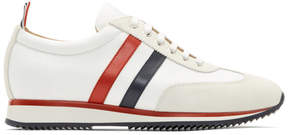 Thom Browne White Suede and Tech Running Sneakers
