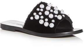 Sol Sana Women's Teresa Embellished Faux-Fur Slide Sandals