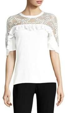 Elie Tahari Flora Elbow-Length Sleeve Wool Top