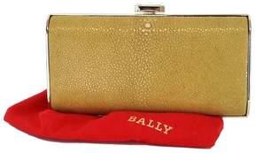 Bally Tan & Gold Pebbled Clutch
