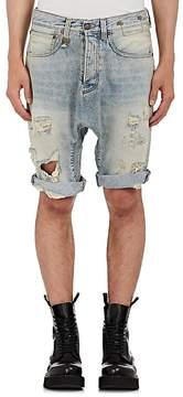 R 13 Men's Ian Distressed Denim Shorts