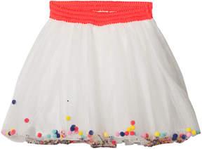 Billieblush White Pom Pom Glitter Tutu Skirt