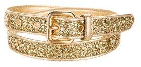 Miu Miu Glitter & Leather Belt