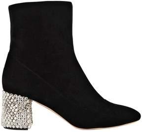 Rochas 60mm Velvet Boots With Crystal Heel