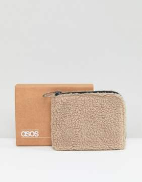 Asos Zip Around Wallet In Cream Borg