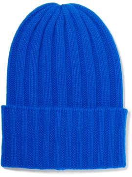 The Elder Statesman Short Bunny Echo Ribbed Cashmere Beanie - Blue