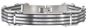 Armani Exchange Jewelry Mens Stainless Steel Striped Id Black Bracelet.