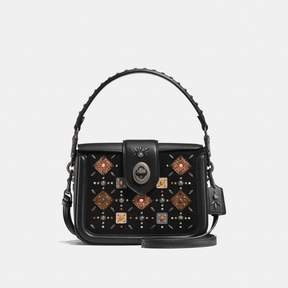 COACH Coach New YorkCoach Page Crossbody With Prairie Rivets And Snakeskin Detail - BLACK/BLACK COPPER - STYLE