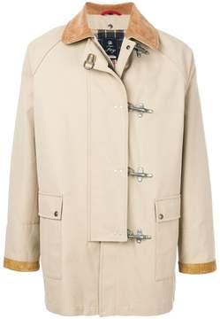 Fay check lined toggle coat