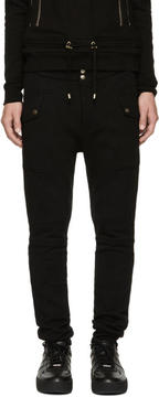 Balmain Black Mesh Panel Lounge Pants