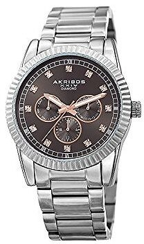 Akribos XXIV Grey Dial Stainless Steel Men's Watch