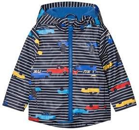 Joules Navy Stripe Car Print Hooded Raincoat
