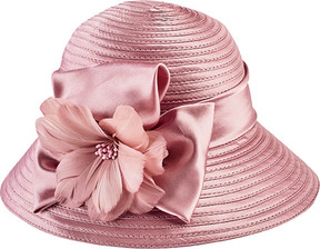 San Diego Hat Company Satin Cloche with Flower Trim DRS3554 (Women's)