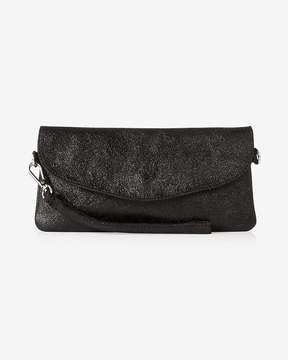 Express Street Level Metallic Fold-Over Leather Clutch