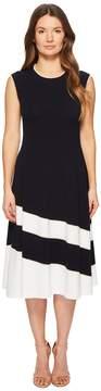 Escada Dariar Sleeveless Asymmetrical Stripe Midi Knit Dress Women's Dress