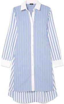 Clu Belted Striped Cotton Shirt Dress - Blue