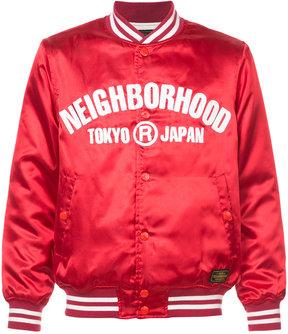 Neighborhood slogan print bomber jacket