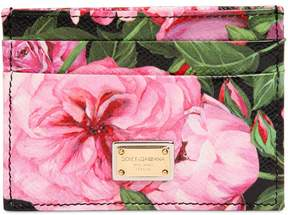 Dolce & Gabbana Rose Printed Leather Card Holder - PINK - STYLE