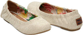 Toms Kids' Natural Metallic Linen Ballet Flat