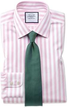 Charles Tyrwhitt Extra Slim Fit Non-Iron Pink Wide Bengal Stripe Cotton Dress Shirt Single Cuff Size 14.5/33
