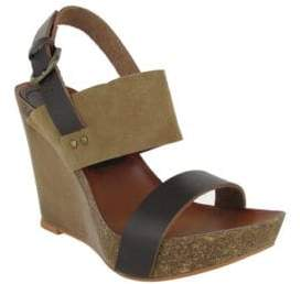 Mia Foxy Leather Slingback Wedge Sandals