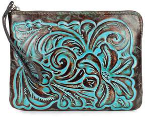 Patricia Nash Tooled Turquoise Collection Cassini Floral-Embossed Wristlet