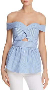 Bardot Striped Off-the-Shoulder Peplum Top - 100% Exclusive