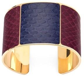 Aspinal of London Minerva Cuff Bracelet In Bordeaux Blue Moon Snake