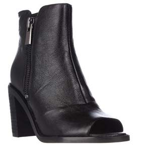 Kenneth Cole Lacey Peep Toe Double Zip Ankle Booties, Black.