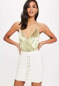 Missguided Gold Velvet Wrap Front Bodysuit