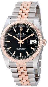 Rolex Oyster Perpetual Datejust 36 Black Dial Stainless Steel and 18K Everose Gold Jubilee Bracelet Automatic Men's Watch