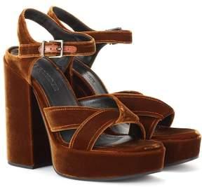 Jil Sander Velvet plateau sandals