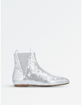 Loewe Ladies Silver Sequin Flat Ankle Boots