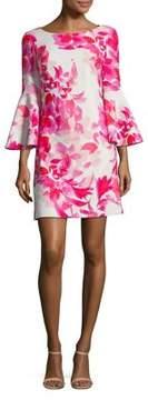 Eliza J Bell-Sleeve Floral Shift Dress