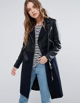 French Connection Idol Belted Contrast Wool PU Biker Trench