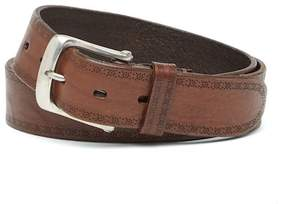 John Varvatos Collection Perforated Leather Buckle Belt
