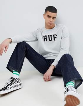 HUF Field Sweatshirt With Applique Logo In Gray
