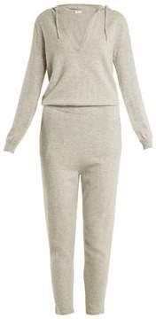 Allude Hooded V-neck cashmere jumpsuit
