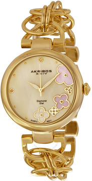 Akribos XXIV Mother of Pearl Dial Gold-tone Ladies Watch AK645YG