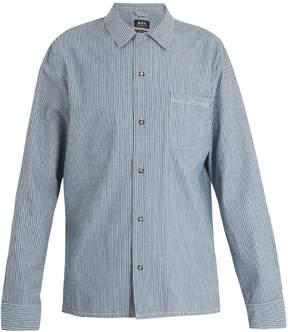 A.P.C. Luca point-collar striped cotton shirt