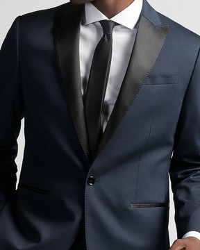 Express Classic Dark Blue Cotton Sateen Tuxedo Jacket