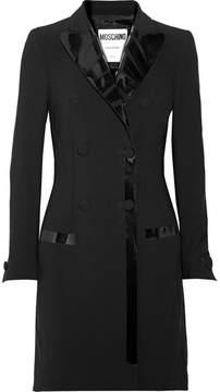Moschino Pvc-trimmed Crepe Mini Dress - Black