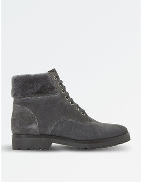 Dune Ladies Grey Contrast Iconic Shearling Suede Boots