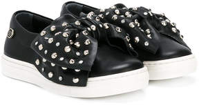 Philipp Plein Junior studded bow sneakers