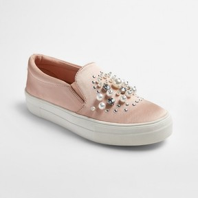 Mossimo Women's Raquel Slip On Satin Sneakers with Embellished Stones and Pearls