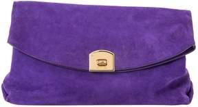 Sergio Rossi Purple Suede Clutch Bag
