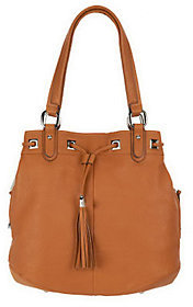B. Makowsky Glove Leather Drawstring Shopper with Side Pockets