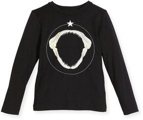 Givenchy Long-Sleeve Shark Graphic T-Shirt, Size 4-5